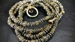 Heavy 127 Gram Solid 18k Yellow Gold And Sterling Silver Tibetan 31.5 Inch Chain
