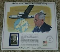 United States Conducts Hiroshima Bombing Harry S Truman 1973 Stamp And Print Panel