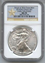 2014w American Eagle 1 Oz Silver Dollar Ngc Ms 70 Early Releases Ounce - Ba721