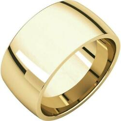 18k Yellow Gold 10mm Light Comfort Fit Wedding Band Ring Size 4 To 15