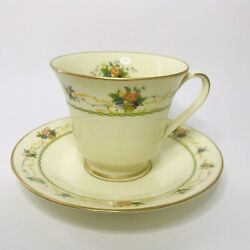 Vintage Noritake Normandy 8162 W83 Footed Tea Cup And Saucer Mint Japan China