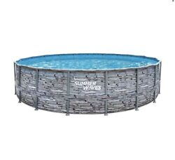 Brand New Summer Waves 18and039x 48 Stone Print Elite Frame Round Swimming Pool