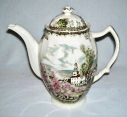 Johnson Brothers 48 Oz/6 Cup Coffee Pot Friendly Village Scenes England