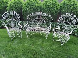 Antique Twisted Iron Adult Peacock Patio Set 2 Chairs And 53 Love Seat