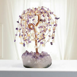 Natural Crystal Money Tree Bonsai With Amethyst Cluster Base Healing Figurine