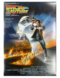 A2 Back To The Future Poster Signed By C Lloyd And M J Fox Black Pen 100 + Coa