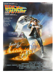 A2 Back To The Future Poster Signed By Lloyd And Fox Black And Silver Pen 100 + Coa