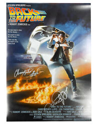 A2 Back To The Future Poster Signed By C Lloyd And M J Fox Silver Pen 100 + Coa