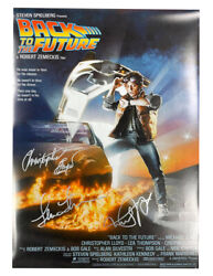 A2 Back To The Future Poster Signed By C Lloyd, M J Fox And L Thompson 100 + Coa
