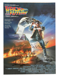 A3 Back To The Future Poster Signed By Lloyd, Fox, Thompson And Wells 100 + Coa