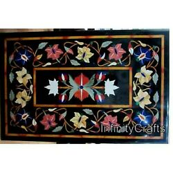 30 Inch Marble Coffee Table Top Floral Pattern Inlaid Patio Table For Lawn Decor