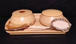 Vintage 1918 French Ivory Celluloid Dresser Vanity Set +button Hook Cuticle Lint