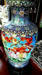 Large Cloisonneand039 Vase W/ Detailed Standchinese...vintage...36 High..reduced