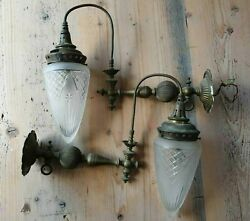 Antique Victorian Brass Gas Wall Lamps
