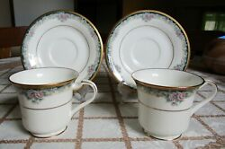 2 Noritake Mi Amor Bone China Footed Cups And Saucers 4717 Japan Mint Condition