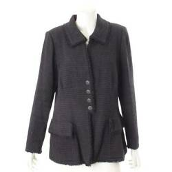 Authentic 09p Coco Mark Button Tweed Tailored Jacket P35014 Navy Size 46