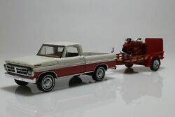 Ford F-100 And Indian Scout Motorcycle W/ Utility Trailer 164 Scale Diecast Model