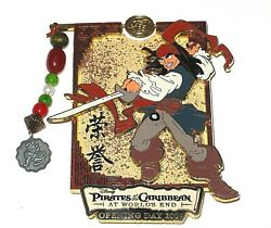 Jack Sparrow Jumbo Le Disney Pin Pirates Of Caribbean Opening Day Spins Dangle