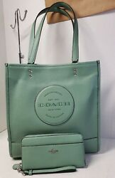 Coach Dempsey Pebble Leather Large Tote Bag. Washed Green W/wristlet