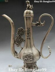 17 Chinese Silver Carving Dragon Lion Deer Flower Wine Pot Flagon Kettle Statue