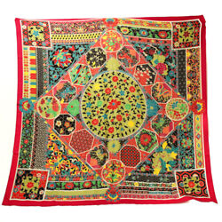 Hermes Scarf Kare 140 Silk Collections Imperiales Women And039s Mens Red Yellow Multi