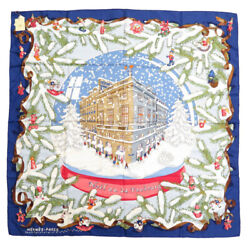Hermes Kare 90 Noel Au 24 Faubourg Christmas At Fable Silk 100 Blue Scarf 0129