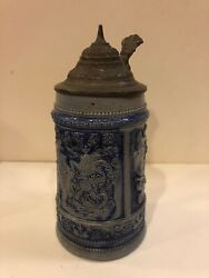 Stoneware Beer Stein-hunting Theme Rifle-cobalt Glaze And Pewter Lidgermanyst108