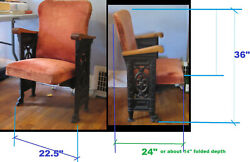 Theater Chair Folding Antique Vintage Cast Iron / Wood Stow Away