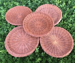 Vintage Wicker Paper Plate Holders Study Rattan Picnic Bbq Camping Lot 6