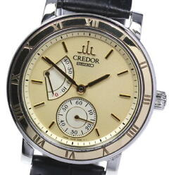Auth Seiko Watch Credor 18yg Bezel Power Reserve 4s79-0020 Automatic 37mm F/s