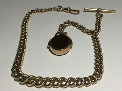 Antique 9 Ct Rose Gold Albert Pocket Watch Chain And Fob Pendant 59.grams