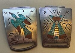 Best Navajo Tommy Singer Signd Watch Tips Peyote Ceremony Chip Inlay 1960s-70s