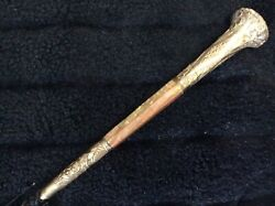 """Antique Victorian Cane 41"""" Umbrella Gold And Mother Of Pearl Handle"""
