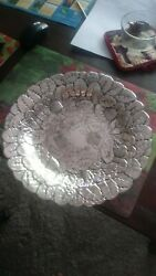 Silver Platter Bowl Strawberry/floral Motif Reed And Barton 14 Inch