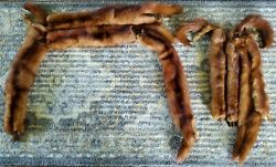 Pair Of Vintage Mink Fur Stole Scarf Shawls Wraps, 8 Full Body Pelts Total