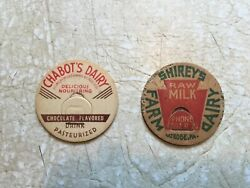 Vintage Paper Milk Bottle Lid Chabots Dairy And Shirley Farm Dover Nh And Latrobe
