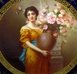 Fantastic Royal Vienna Portrait Plate Signed C.1890s Girl With Vase And Flowers