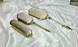 Antique E.g. Webster And Son Mirror And Hair Brush Set Sterling Silver Victorian