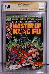 Special Marvel Edition 15 Master Of Kung Fu Cgc 9.0 2x Signed 1st Shang Chi