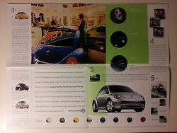 2001 Vw Beetle Dealership Showroom Sales Folder - Opens Into A Small Poster