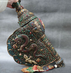 15 Shell Inlay Bronze Turquoise Coral Gems Dragon Elephant Conch Trumpet Horn