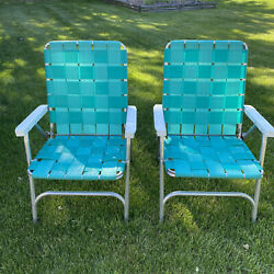 Set Of 2 Vintage Aluminum Beach Lawn Chairs Outdoor Folding Chairs Nylon Webbed