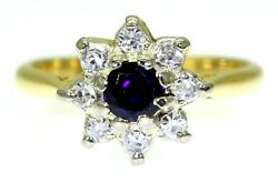 Vintage Boodles Sapphire And 0.25ct Diamond Cluster 18ct Yellow Gold Ring K 5 1/4