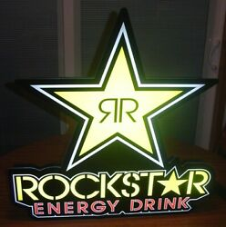 """Excellent Rockstar Energy Drink Led Lighted Advertising Sign 30"""" - Free Shipping"""