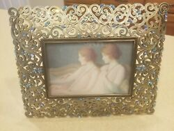 Rare Jay Strongwater Ornate Scroll Arabesque Pastel Marquis Crystal Enamel Frame