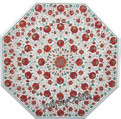 30 Inch Marble Coffee Table Top Inlay Carnelian Stone Patio Table For Lawn Decor
