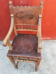 Antique Chair Spanish Walnut Embossed Leather Renaissance Style Chair