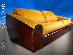 Aviator Italian Leather Convertible Queen Size Sofa Bed Sleeper / Unique And New