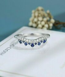 Queen Crown Engagement And Wedding Beautiful Band 14k White Gold 2.50 Ct Sapphire