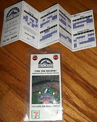 Vtg Colorado Rockies Schedule And Coca Cola Opening Day Attendance Record Pin